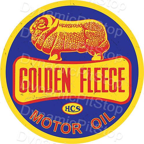 60cm Golden Fleece Bow Round Tin Sign