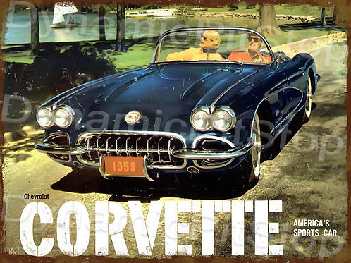 40x30cm Corvette 1959 Rustic Decal or Tin Sign