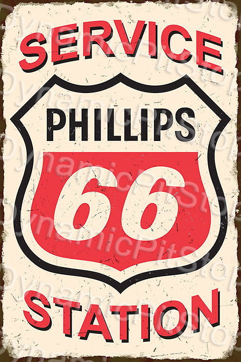 40x60cm Phillips 66 Service Station Rustic Decal or Tin Sign
