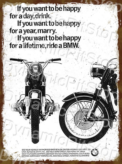 30x40cm BMW Motorcycle Rustic Decal or Tin Sign