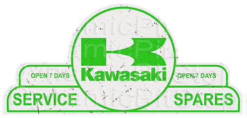 65x30cm Kawasaki Shield Tin Sign
