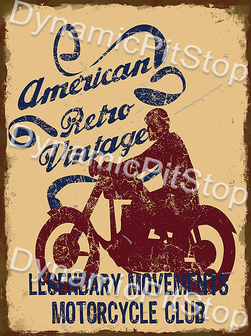 30x40cm American Retro Vintage Motorcycle Rustic Decal or Tin Sign