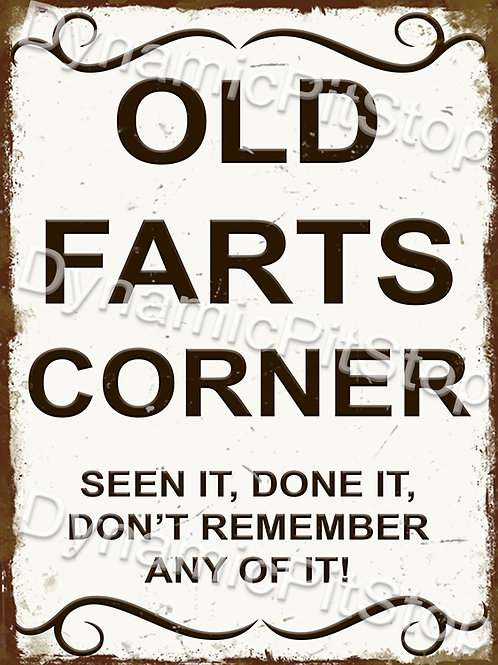 30x40cm Old Farts Corner Rustic Decal or Tin Sign