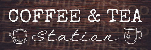 60x20cm Coffee & Tea Station Rustic Decal or Tin Sign