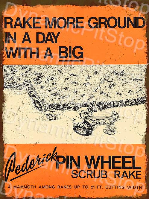 30x40cm Pederick Pin Wheel Scrub Rack Tractor Rustic Decal or Tin Sign
