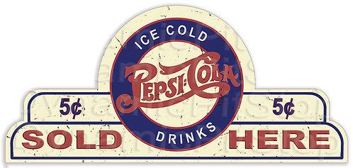 65x30cm Pepsi Cola Sold Here Shield Tin Sign