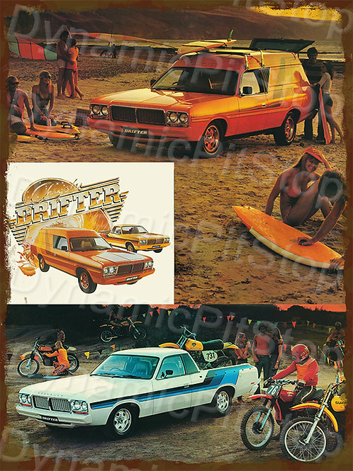 30x40cm Chrysler Drifter Wagon & Ute Rustic Decal or Tin Sign