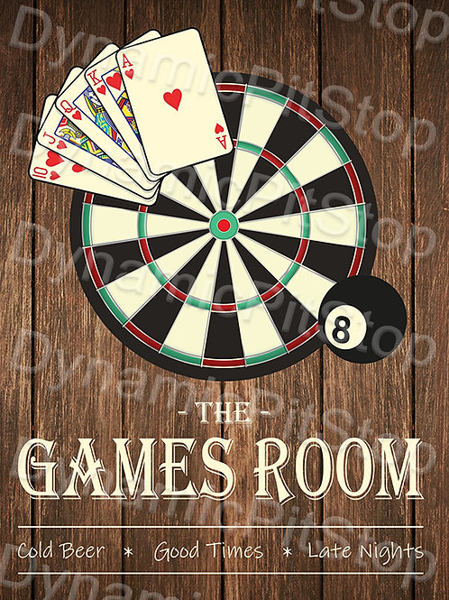 30x40cm Games Room Rustic Decal or Tin Sign