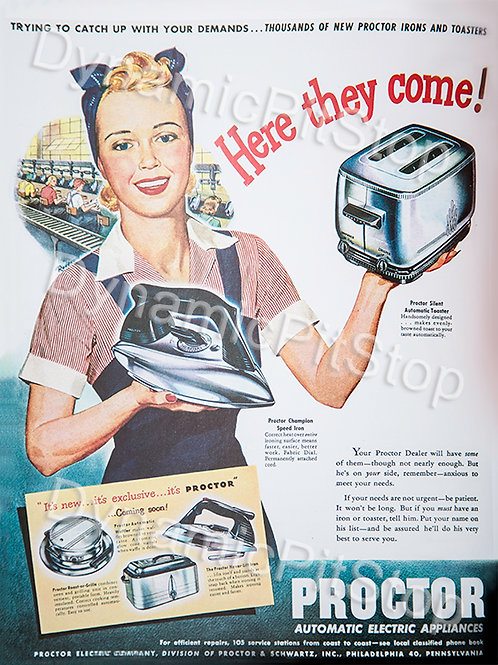 30x40cm Proctor Appliances Decal or Tin Sign