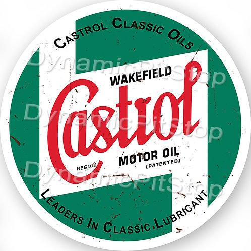 60cm Castrol Logo Round Tin Sign