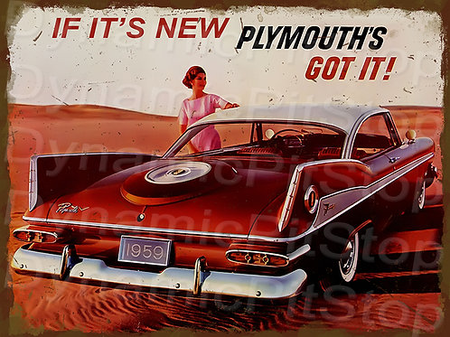 40x30cm Plymouth 1959 Fury Rustic Decal or Tin Sign