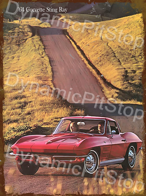 30x40cm Corvette 1964 Sting Ray Rustic Decal or Tin Sign