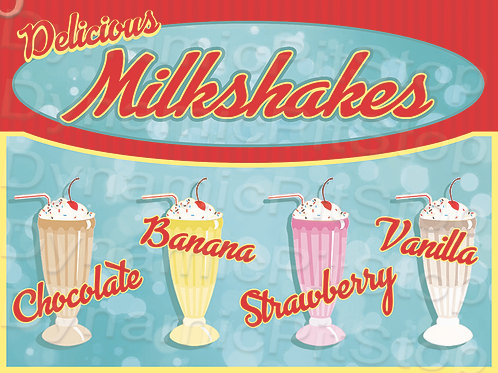 40x30cm Milkshakes Rustic Decal or Tin Sign