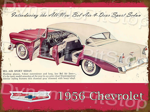 40x30cm Chevrolet 1956 Rustic Decal or Tin Sign