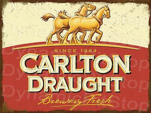 40x30cm Carlton Draught Rustic Decal or Tin Sign