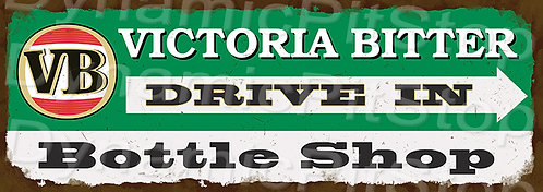 Large 99x35cm Victoria Bitter VB Rustic Decal or Sign