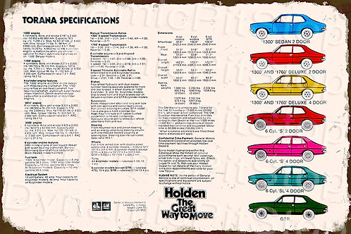 60x40cm Holden Torana Specifications Rustic Decal or Tin Sign
