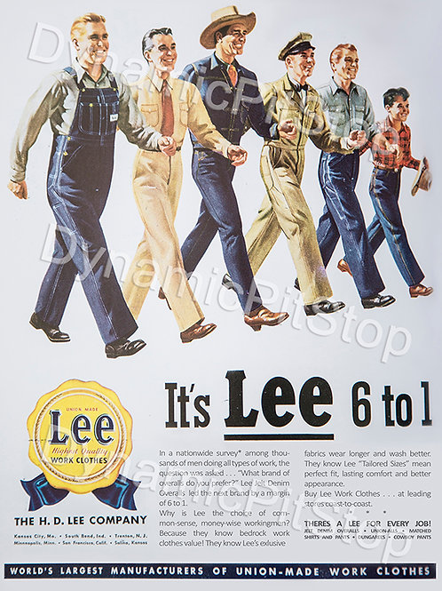 30x40cm Lee Work Clothes Decal or Tin Sign