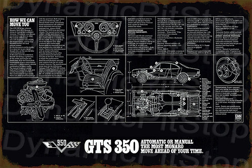 60x40cm Holden Monaro GTS 350 Rustic Decal or Tin Sign