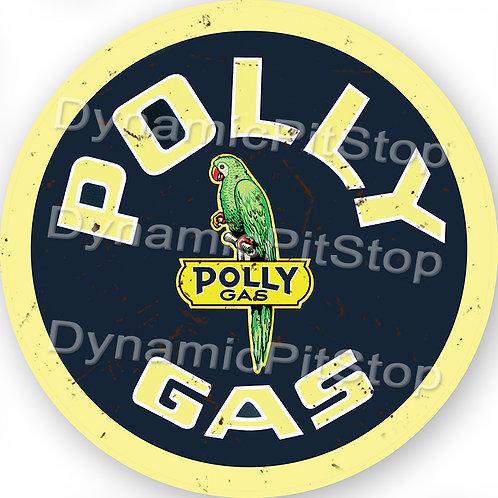 60cm Polly Gas Logo Round Tin Sign
