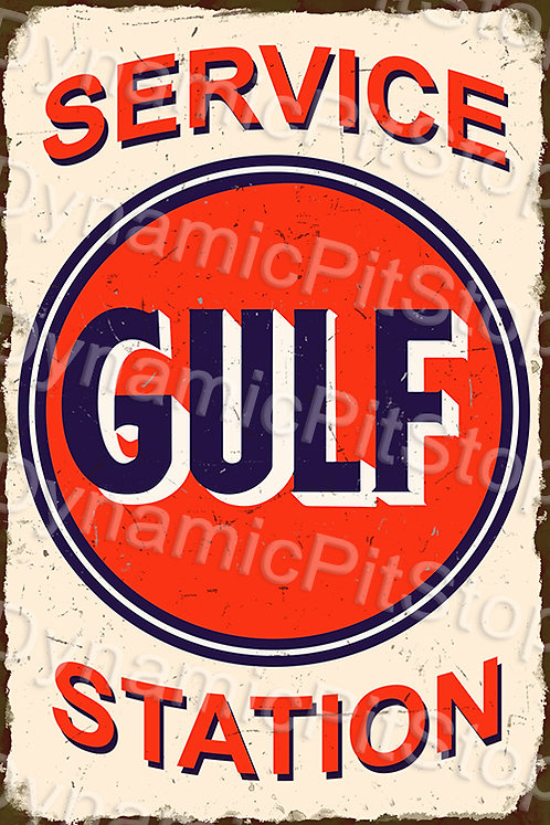 40x60cm Gulf Service Station Rustic Decal or Tin Sign