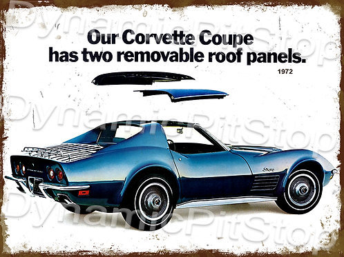 40x30cm Corvette 1972 Rustic Decal or Tin Sign