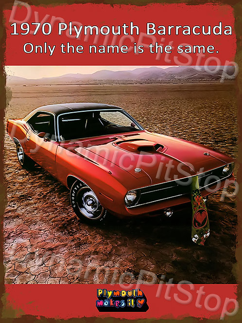 30x40cm Plymouth 1970 Barracuda Rustic Decal or Tin Sign