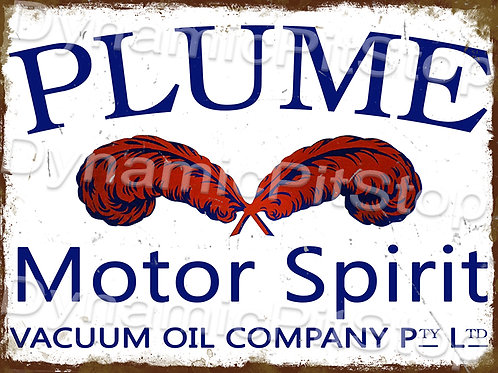 40x30cm Plume Motor Oil Rustic Decal or Tin Sign
