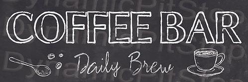60x20cm Coffee Bar Rustic Decal or Tin Sign