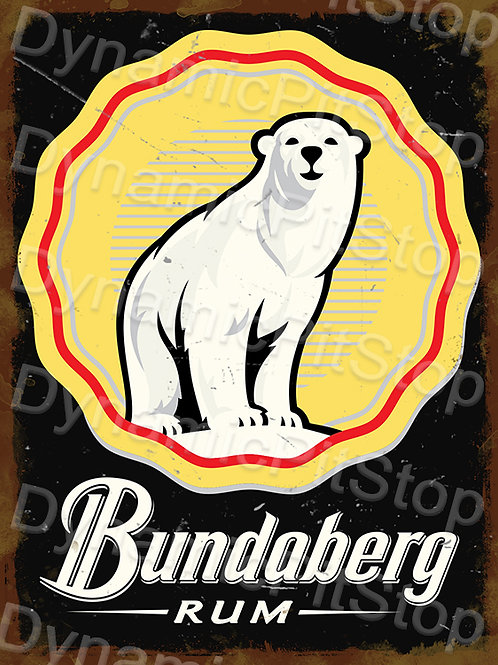 30x40cm Bundaberg Rum Logo Rustic Decal or Tin Sign