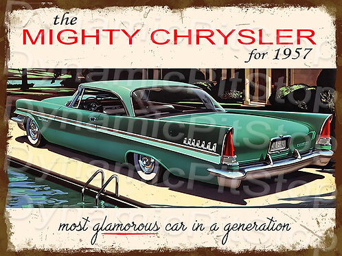 40x30cm Chrysler 1957 Rustic Decal or Tin Sign