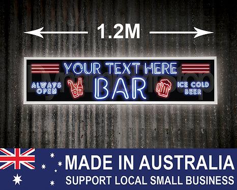 Large Illuminated Neon Style Custom Bar Sign