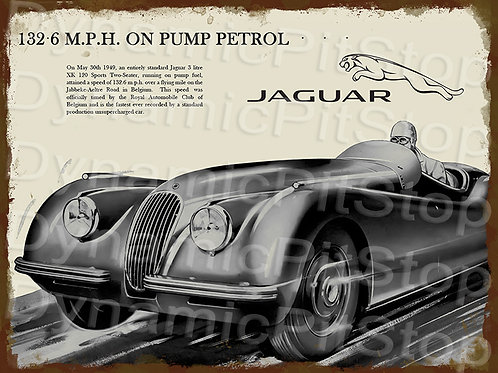 40x30cm Jaguar XK120 Rustic Decal or Tin Sign