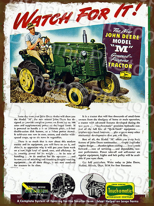 30x40cm John Deere Model M Tractor Rustic Decal or Tin Sign