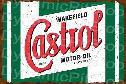 HUGE 120x80cm Castrol Rustic  Sign