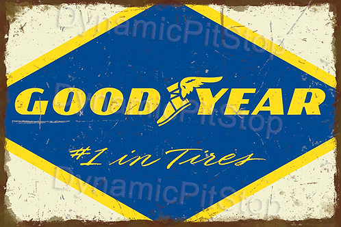60x40cm Good Year Tires Rustic Decal or Tin Sign