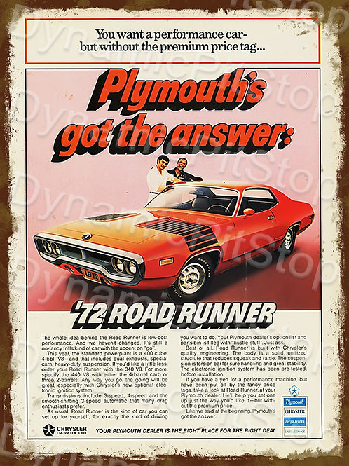 30x40cm Plymouth 1972 Road Runner Rustic Decal or Tin Sign