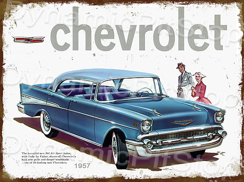 40x30cm Chevrolet 1957 Rustic Decal or Tin Sign