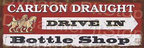 60x20cm Carlton Draught Drive Inn Rustic Decal or Tin Sign