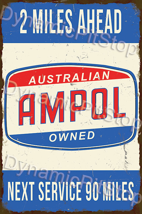 40x60cm Ampol Next Service Rustic Decal or Tin Sign