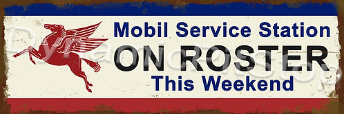 60x20cm Mobil Service Roster Rustic Decal or Tin Sign