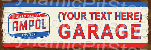 60x20cm Ampol Garage Personalised / Custom Decal or Tin Sign