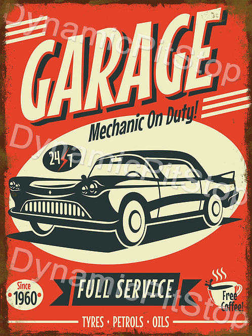 30x40cm Garage Full Service Rustic Decal or Tin Sign