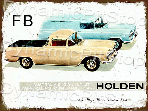 40x30cm Holden 1960 FB Ute & Van Rustic Decal or Tin Sign
