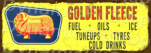 Large 99x35cm Golden Fleece Tyres Rustic Decal or Sign