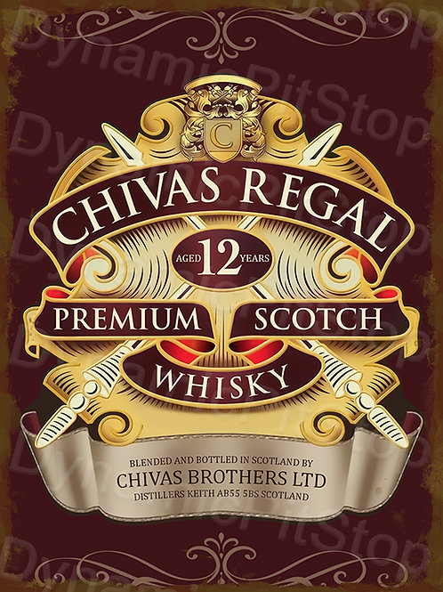 30x40cm Chivas Regal Scotch Whiskey Rustic Decal or Tin Sign