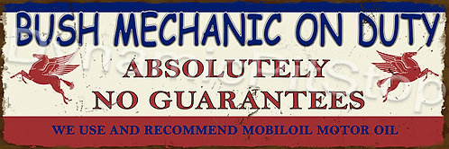 60x20cm Mobil Bush Mechanic Rustic Decal or Tin Sign