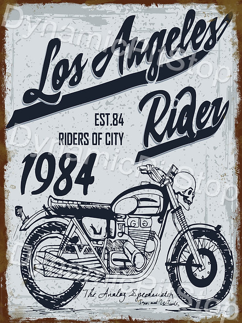 30x40cm Los Angeles Rider Motorcycle Rustic Decal or Tin Sign