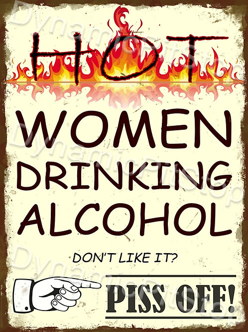 30x40cm Hot Women Drinking Rustic Decal or Tin Sign