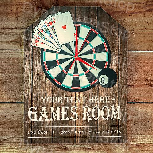 30cm x 40cm Games Room Custom/ Personalised Rustic Clock